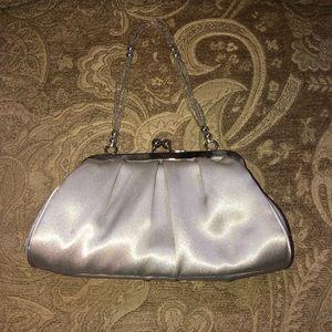 Handbags - Silk Silver Evening Clutch with Bead Detail